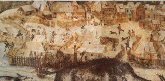 охота на кабана, картина, pig huntung medieval