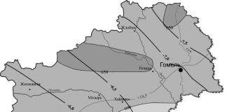 Карта температур в Гомельской области