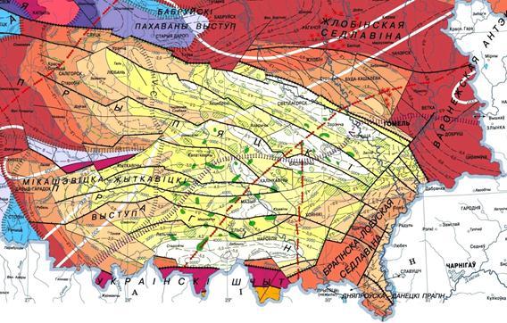 тектонические структуры, Гомельщина, Гомель