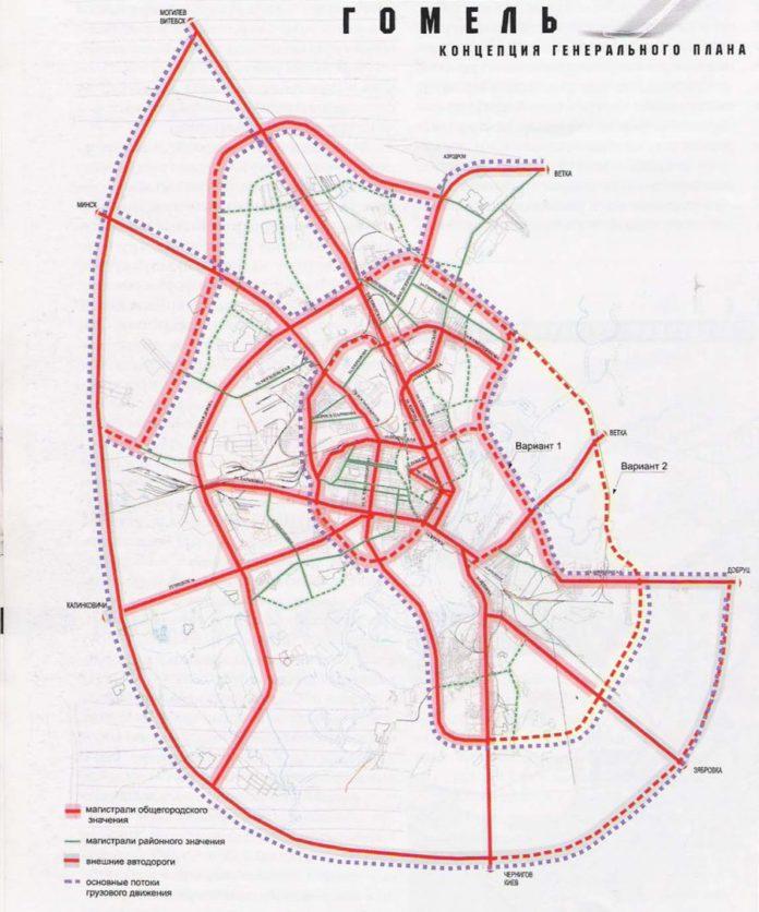 Схема транспорта в Гомеле