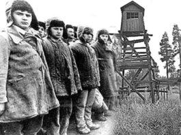 Осуждённые вследствие репрессий арестанты стоят в шеренгу