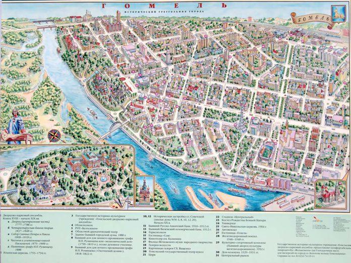 Панорама центра Гомеля нарисованная художником