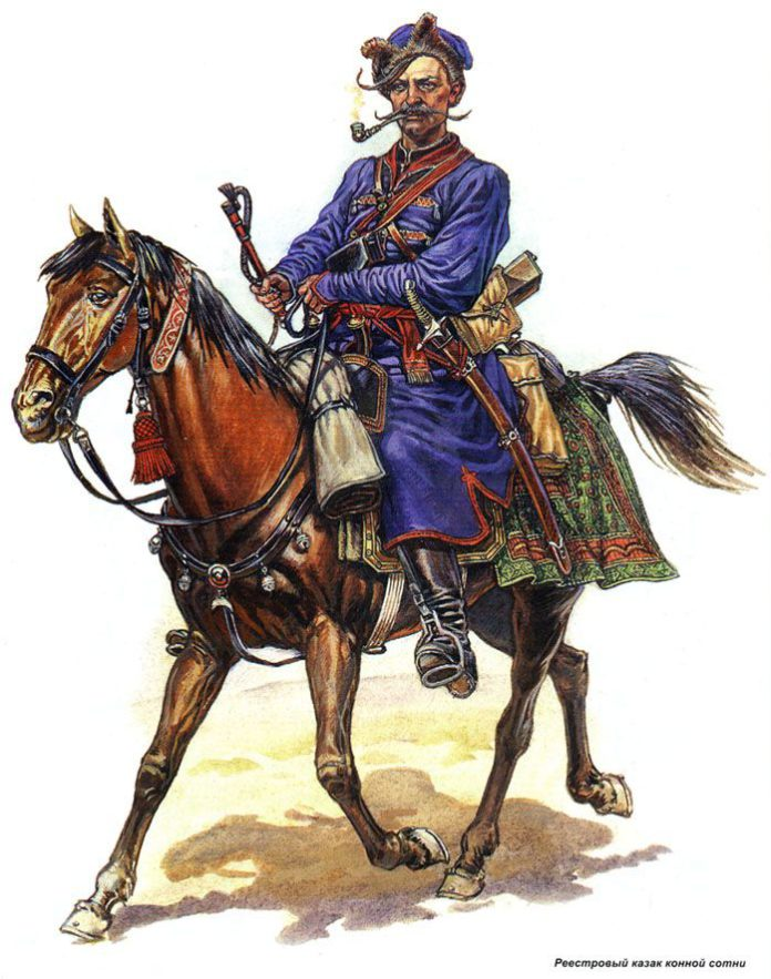Вооружённый казак скачет на коне и курит трубку