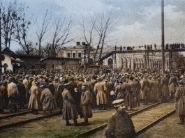 Митинг около старого вокзала в Гомеле в 1918 году
