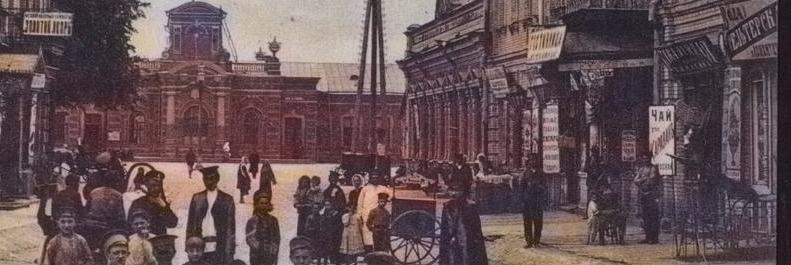 Вид на старый вокзал в Гомеле в цвете