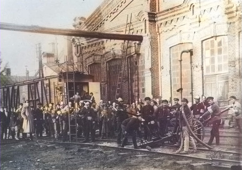 Железнодорожная пожарная дружина станции Гомель начала ХХ века в