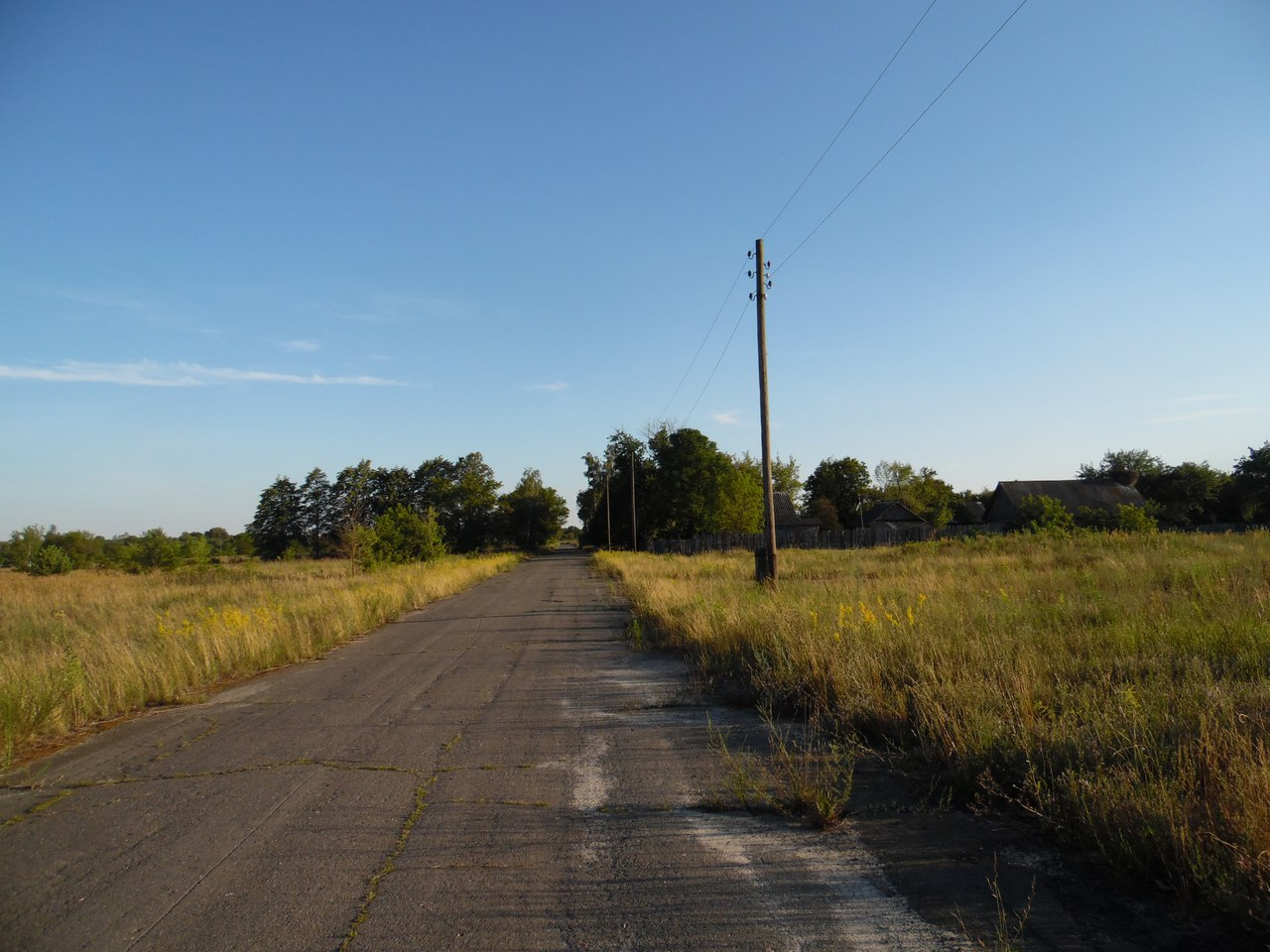 Старая дорога с жёлтыми полями в Наровле