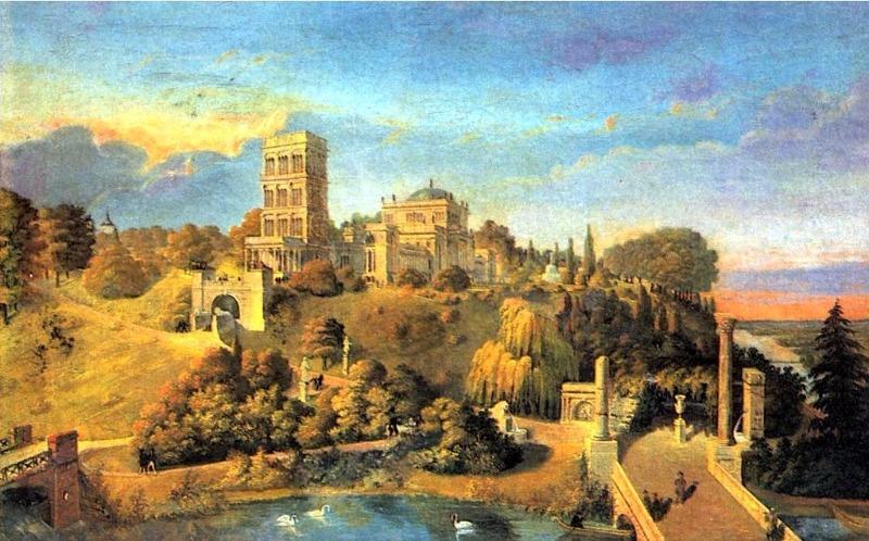 Картина 19 века изображает вид на гомельский дворец и парк
