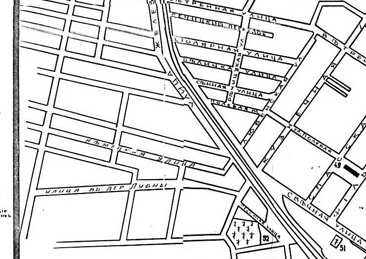 Фрагмент плана Гомеля 1910 года с Немецкой улицей
