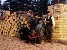 Фотография пильщиков из серии цветных фото Прокудина-Горского