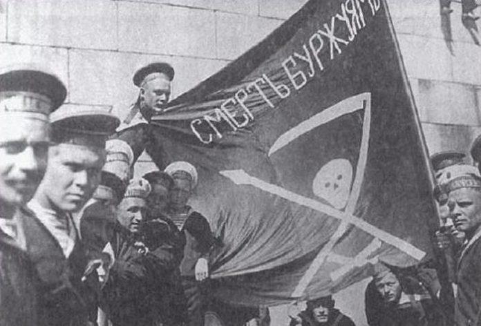 Большевистский флаг во время гражданской войны