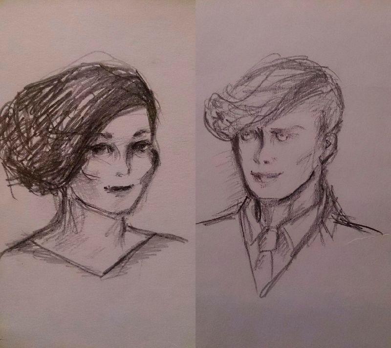 Рисунок девушки и парня карандашом