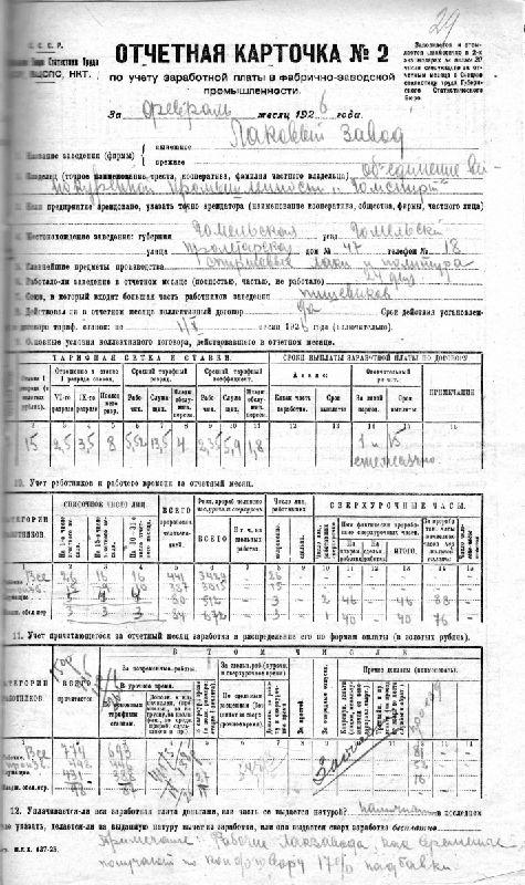 Каротчка зарплаты в БССР в Гомеле на лаковом заводе