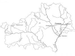 Рисунок 1 - Картосхема туристического маршрута Индустриальное кольцо Гомелыцины