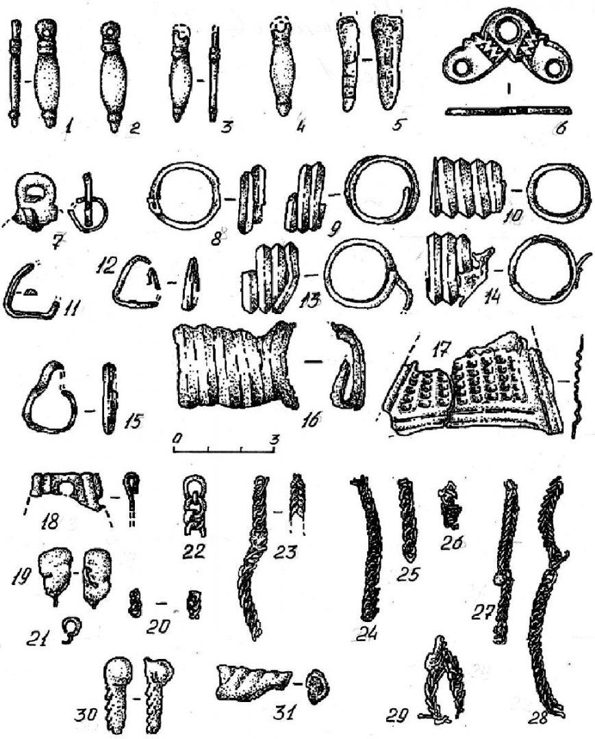 Комплекс украшений из кургана в Мохове