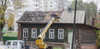 Знос дому на вуліцы Валатоўскай, 22 у Гомлі