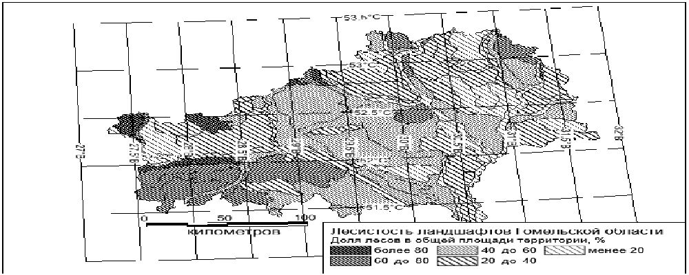 Карта лесистости ландшафтов Гомельской области