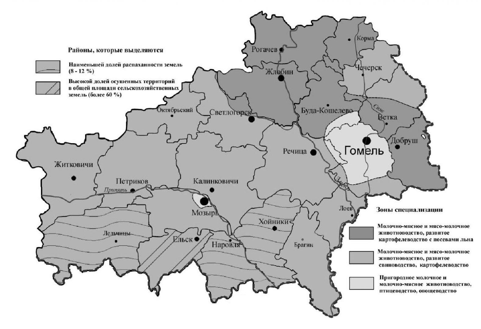 Сельское хозяйство Гомельской области карта