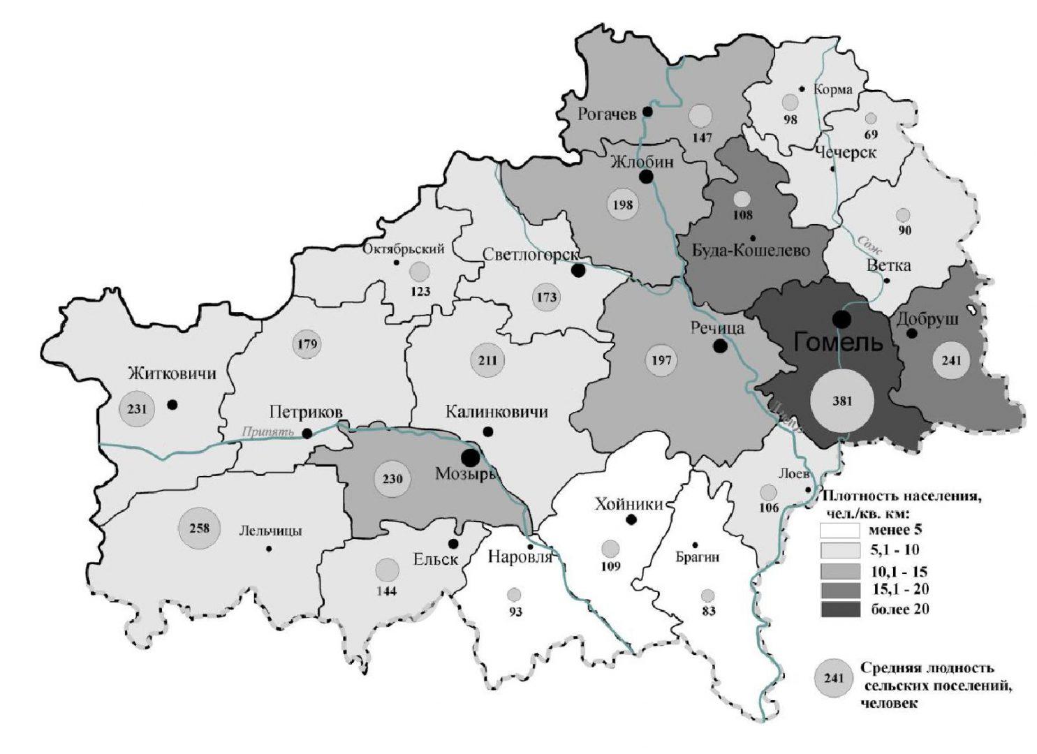 Система сельского расселения Гомельской области