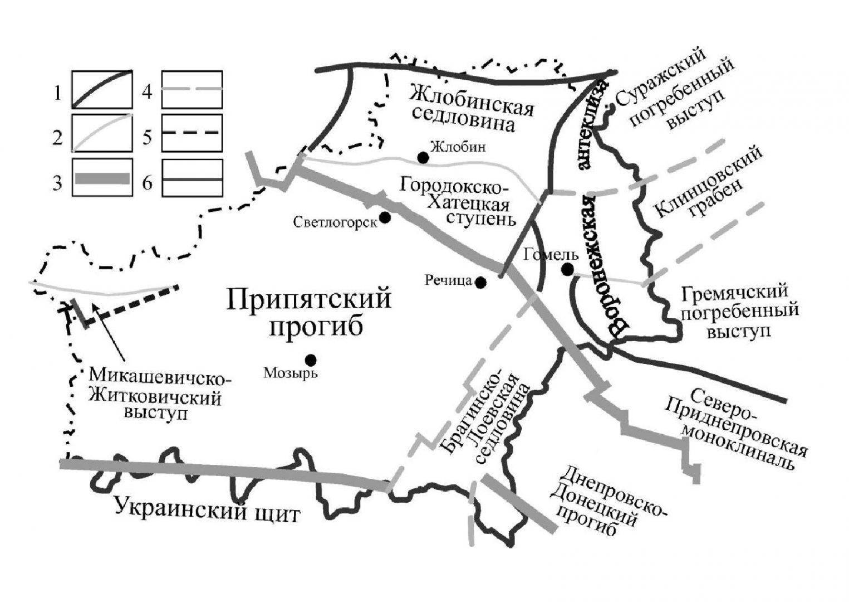 Тектоническое строение территории Гомельской области