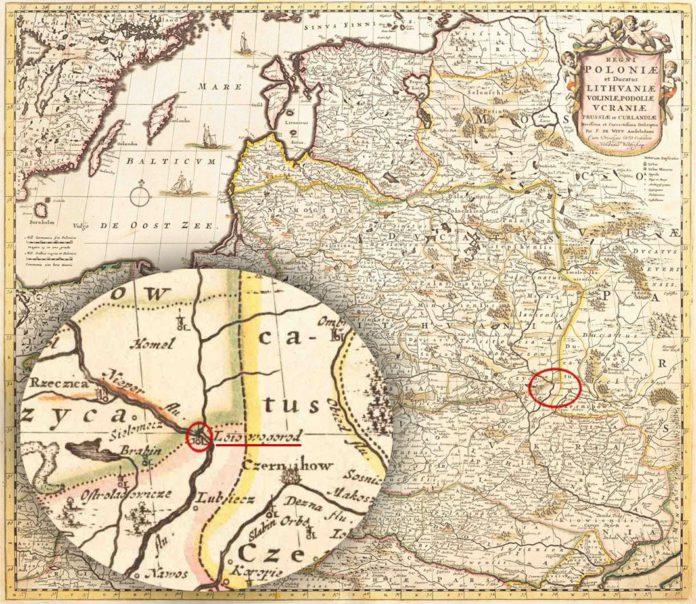 кордонів Лоев на карте ВКЛ 1670 Lithvaniae, Amsterdam
