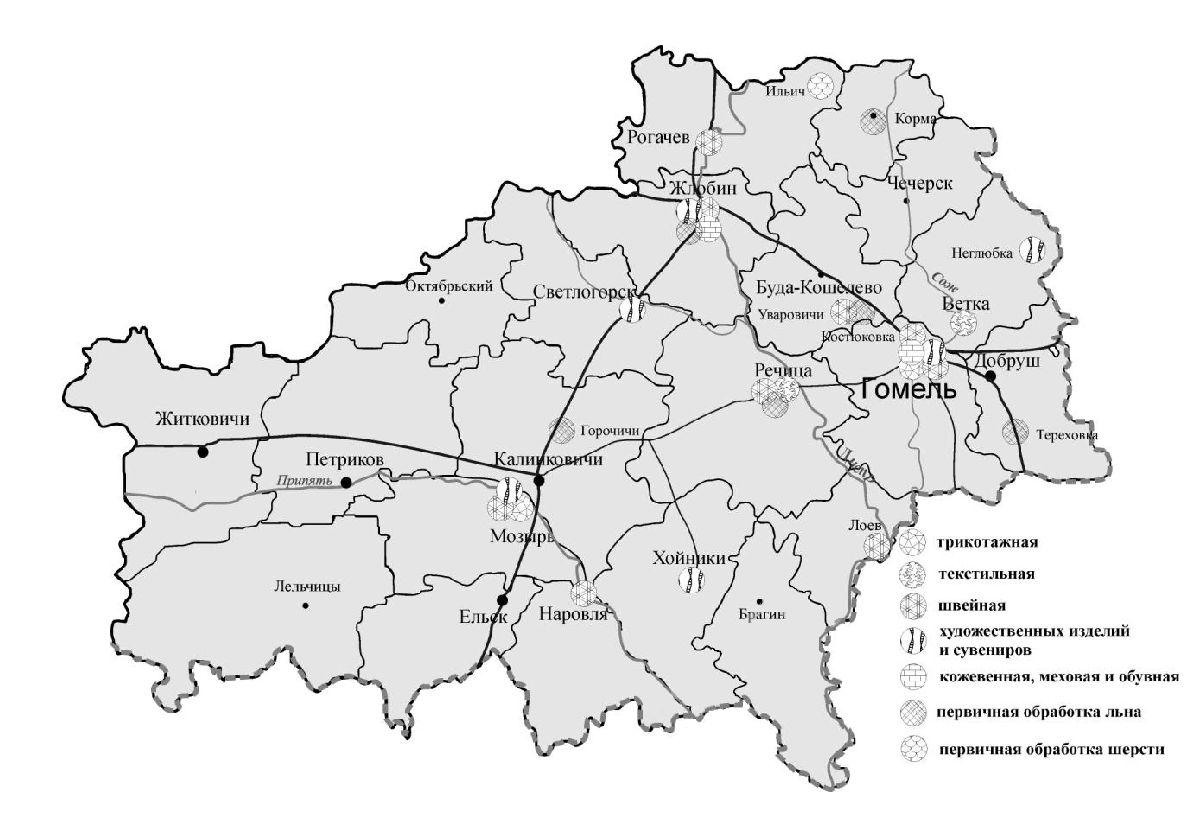 Рисунок 22 - Лёгкая промышленность Гомельской области