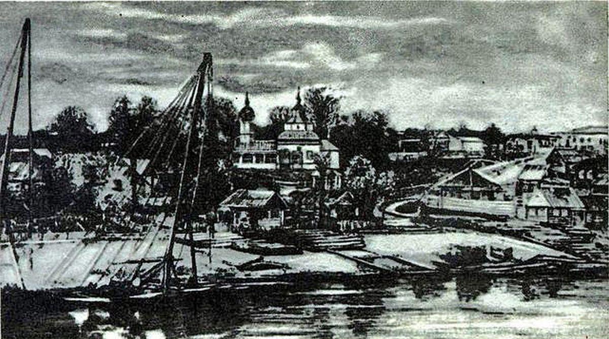 Набережная Сожа в Гомеле в районе Ильинской церкви - старый рисунок