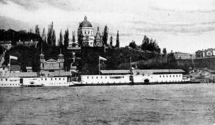Гомель порт и старая набережная с парходом до революции