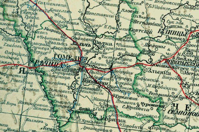 Гомельскі павет Гомельский уезд карта