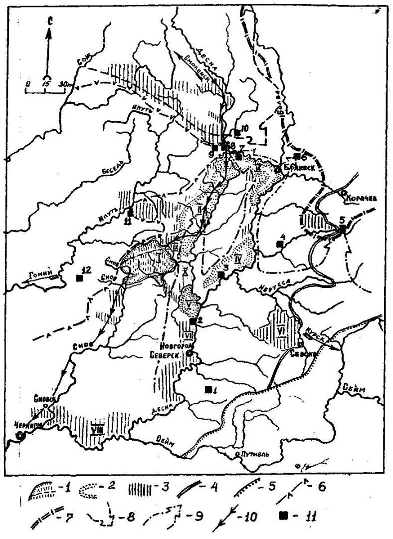 Этнокультурные границы XI-XII вв. и физико-географические регионы среднего Подесенья: