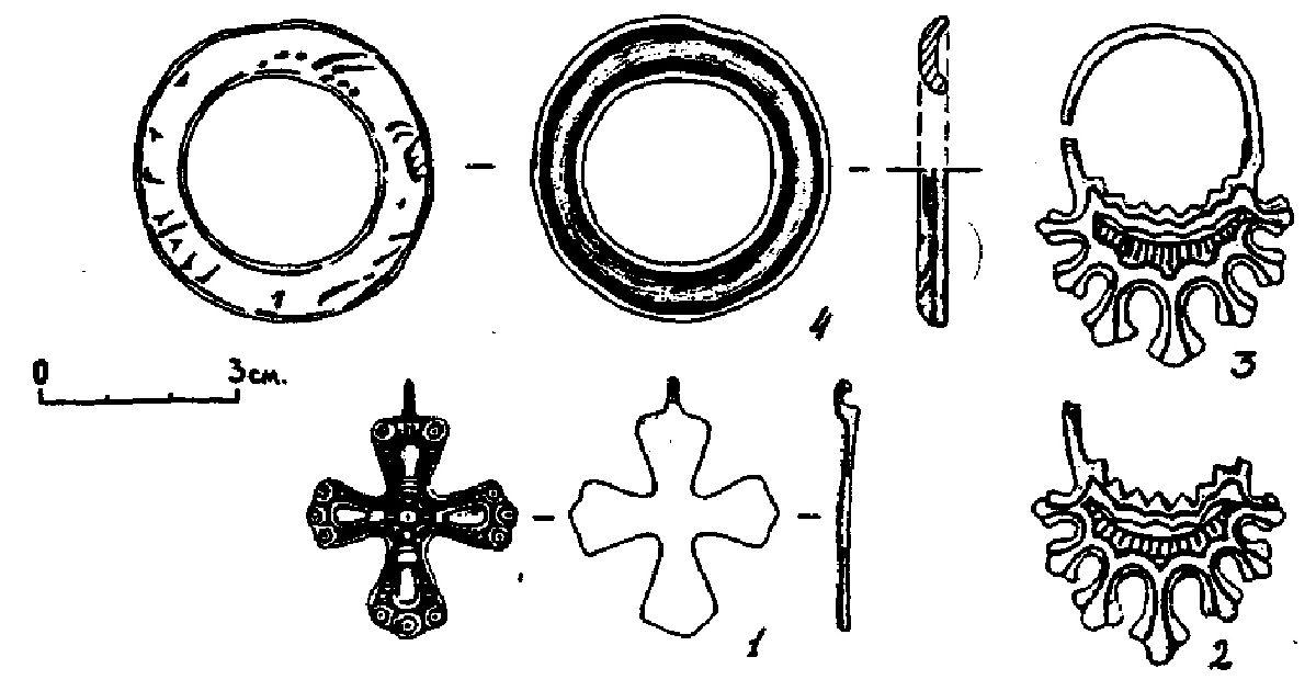 Рис. 6. Некоторые предметы из раскопок Пеклина в коллекции Орловского музея: 1,2,3- биллон; 4 - бронза; 3 - возможно, Батагово, а не Пеклино.