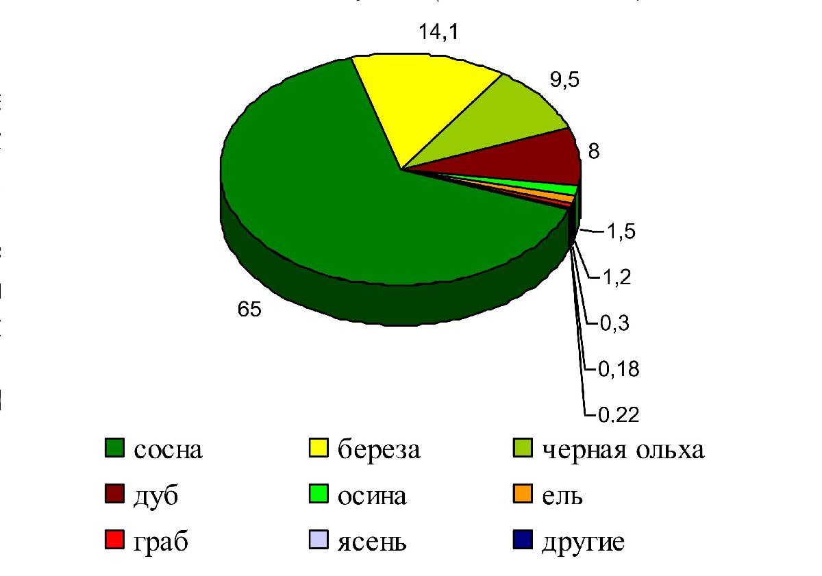 Рисунок 9 - Породный состав лесов Гомельской области