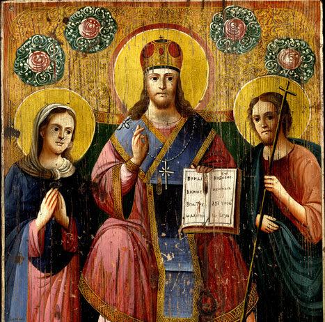 Народная икона «Деисус» (конец XIX — начало ХХ в., дерево, масло)
