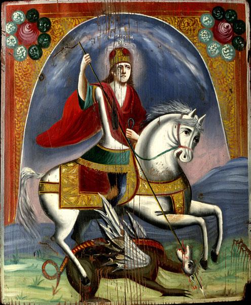 Икона «Святой Георгий (Чудо Георгия о змие)» (конец XIX — начало ХХ в., дерево, масло)