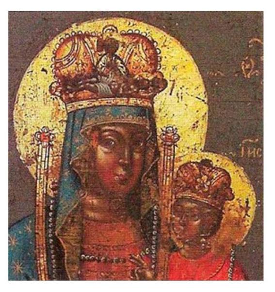 Православная икона «Богоматерь Умягчение злых сердец» для графини Челищевой (фрагмент, середина XVIII в., сайт Pravicon, № 13888)