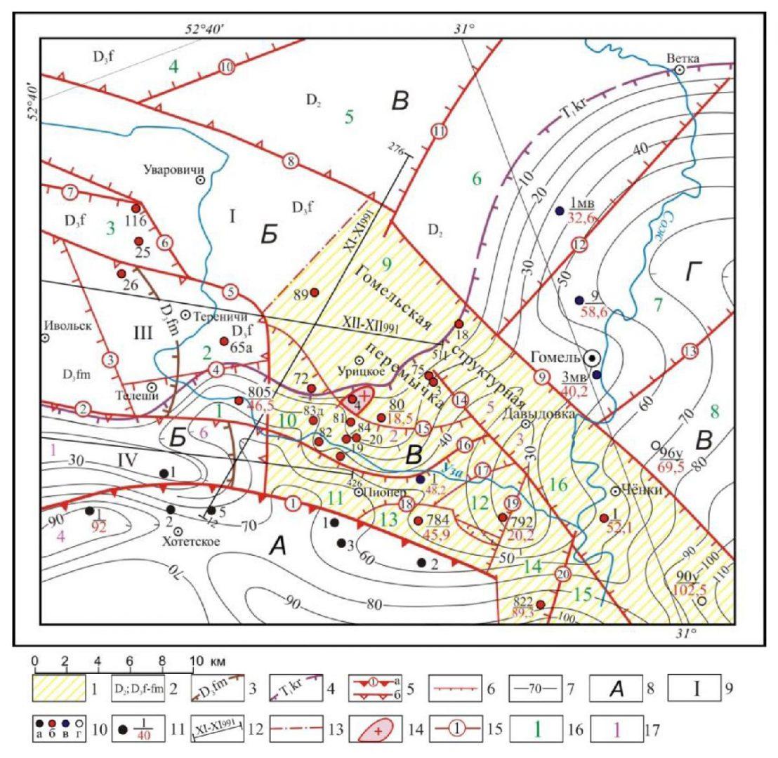 Карта мощностей отложений Коренёвской свиты индского яруса нижнего триаса Гомельской стуктурной перемычки и сопредельных территорий