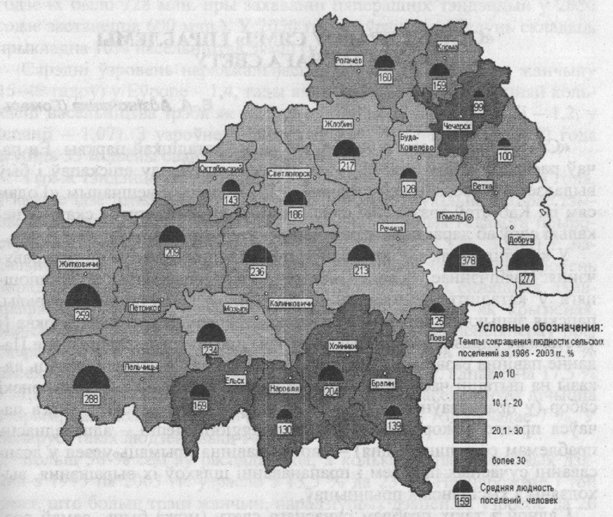 Рис. Людность сельских поселений Гомельской области на 01.01.2004 г.