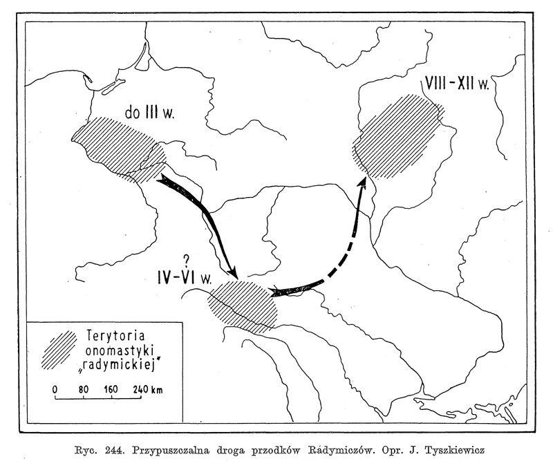 Рис. 12. Миграция радимичей по Я. Тышкевичу (Tyszkiewicz 1970: 456)