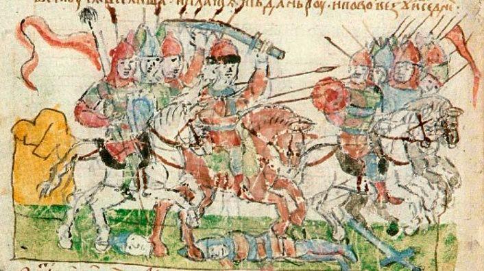 Рис. 2. Битва на реке Пищане. Миниатюра из Радзивиловской летописи