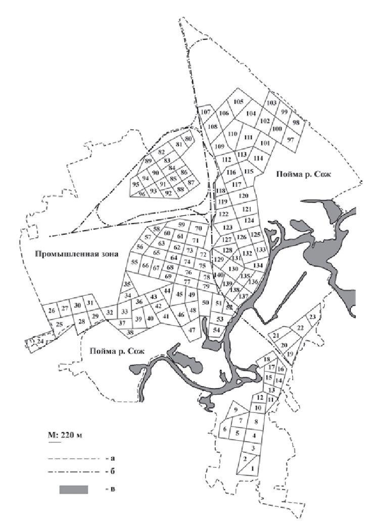 Рис. 1. Схема расположения площадок исследования: а — административная граница Гомеля; б — железная дорога; в — р. Сож