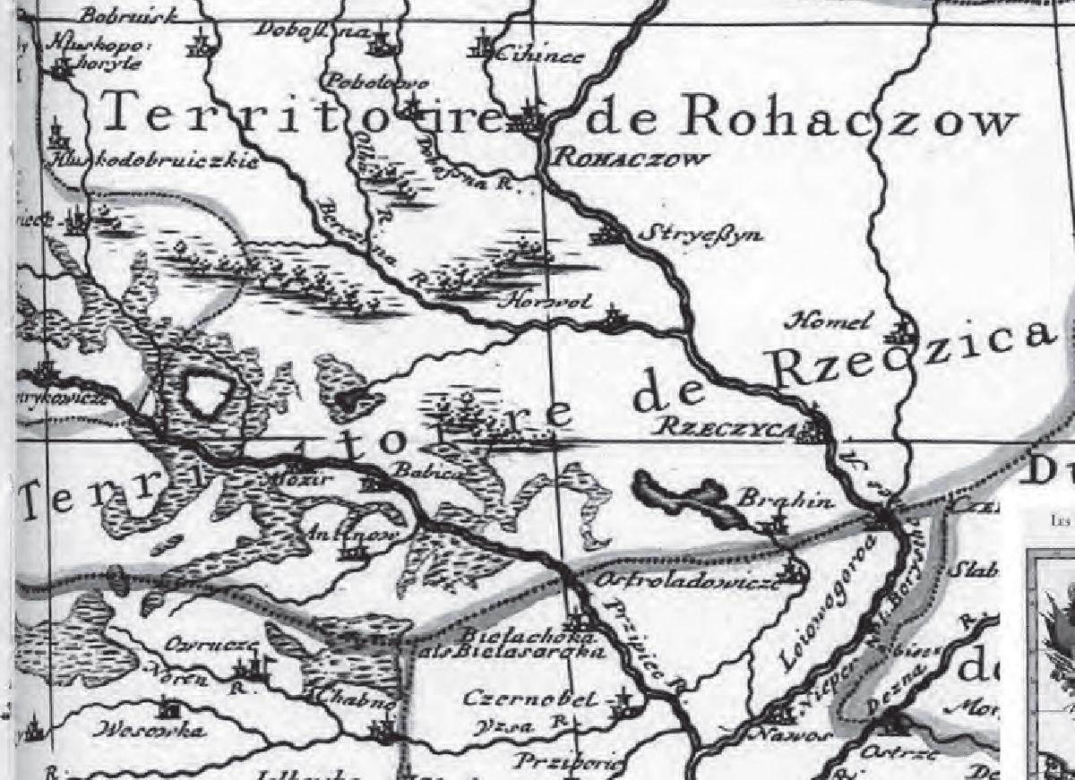 № 10. Астраглядавічы і Брагін на карце Алексіса Жубера Жаліё. Парыж, 1685 г.