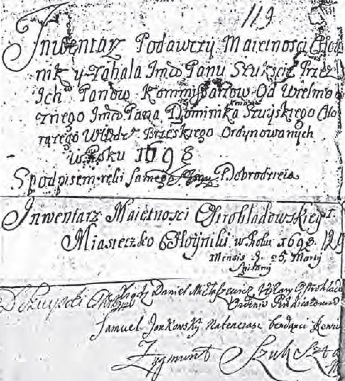 № 12. Урыўкі з інвентара 1698 г.