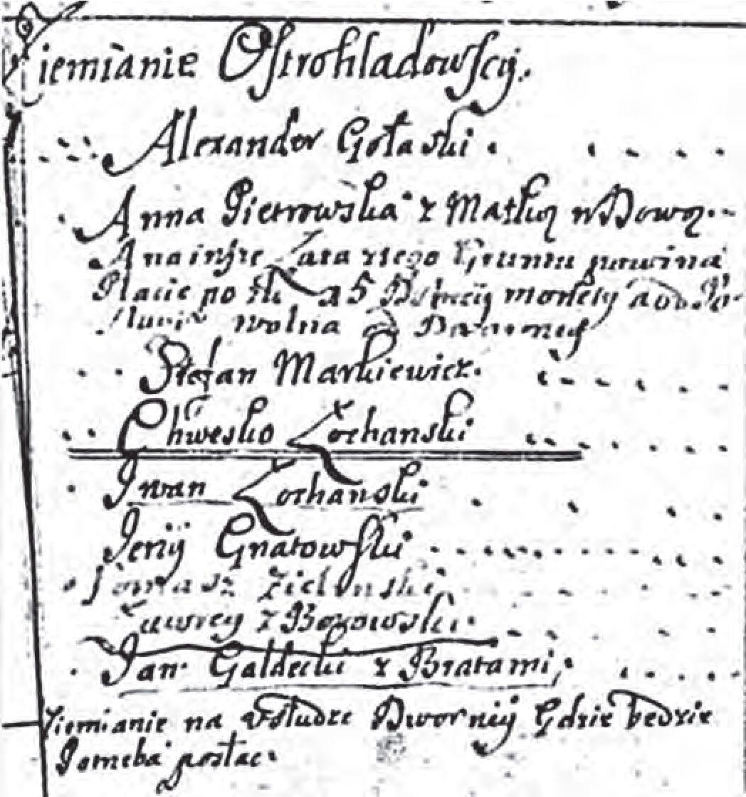 № 13. Астраглядаўскія зямяне ў інвентары 1698 г.