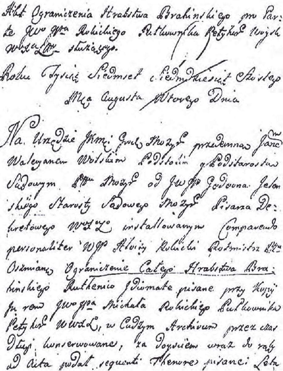 № 4. Загаловак і ўводзіны да акту абмежавання Брагінскай воласці 1512 г.