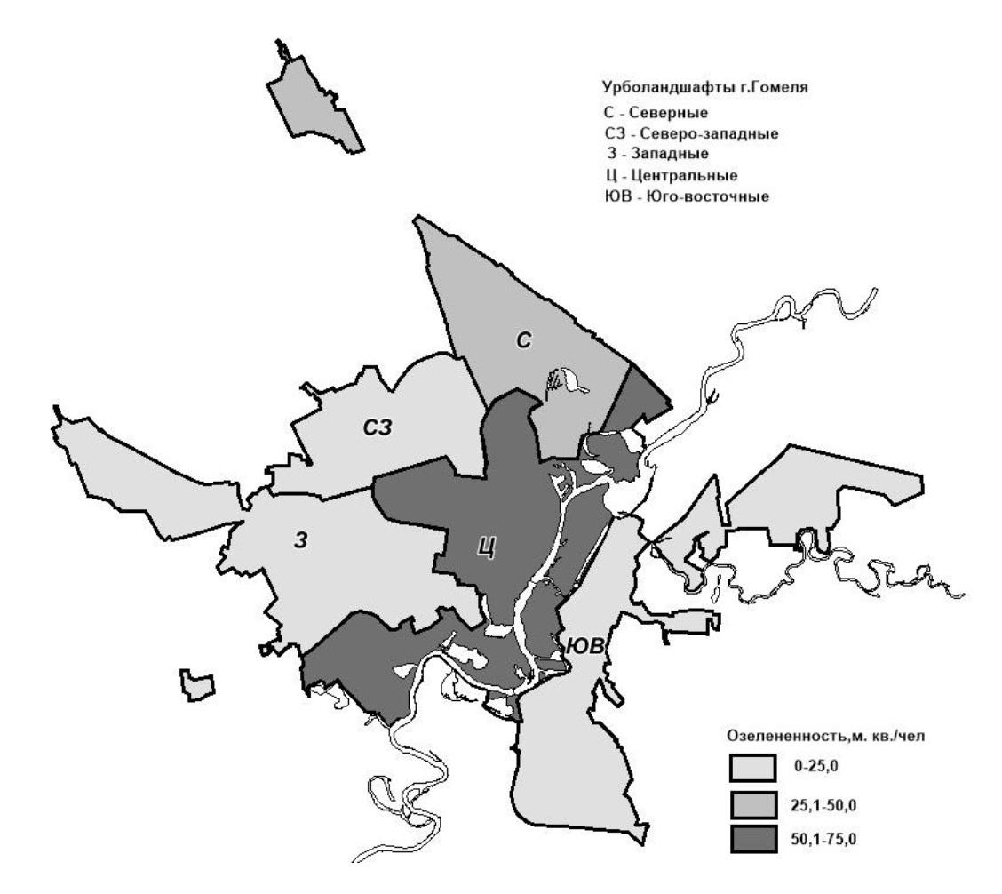 Рис. 2. Обеспеченность населения Гомеля зелеными насаждениями, м2/ чел.
