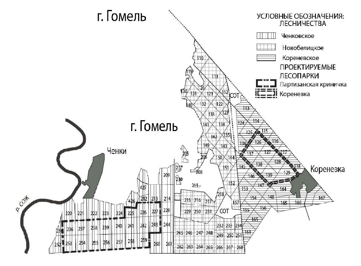 Рисунок 2 - Карта-схема расположения проектируемых лесопарков