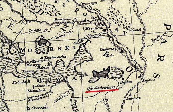 Ил. 1. Остроглядовичи на карте 1749 г.