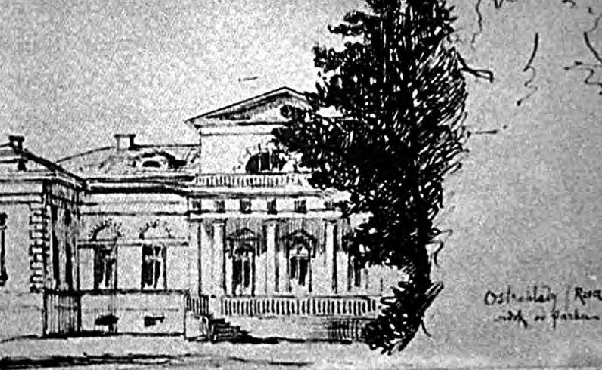 Ил. 7. Дворец в Остроглядах. Рисунок Игнатия Врублевского 1891 г.