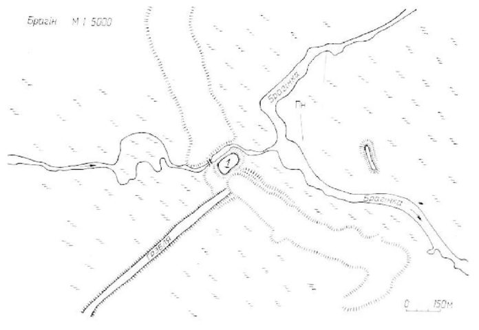 Мал. 1. Брагінскі замак і Брагін. Паводле М. Ткачова, 1991.