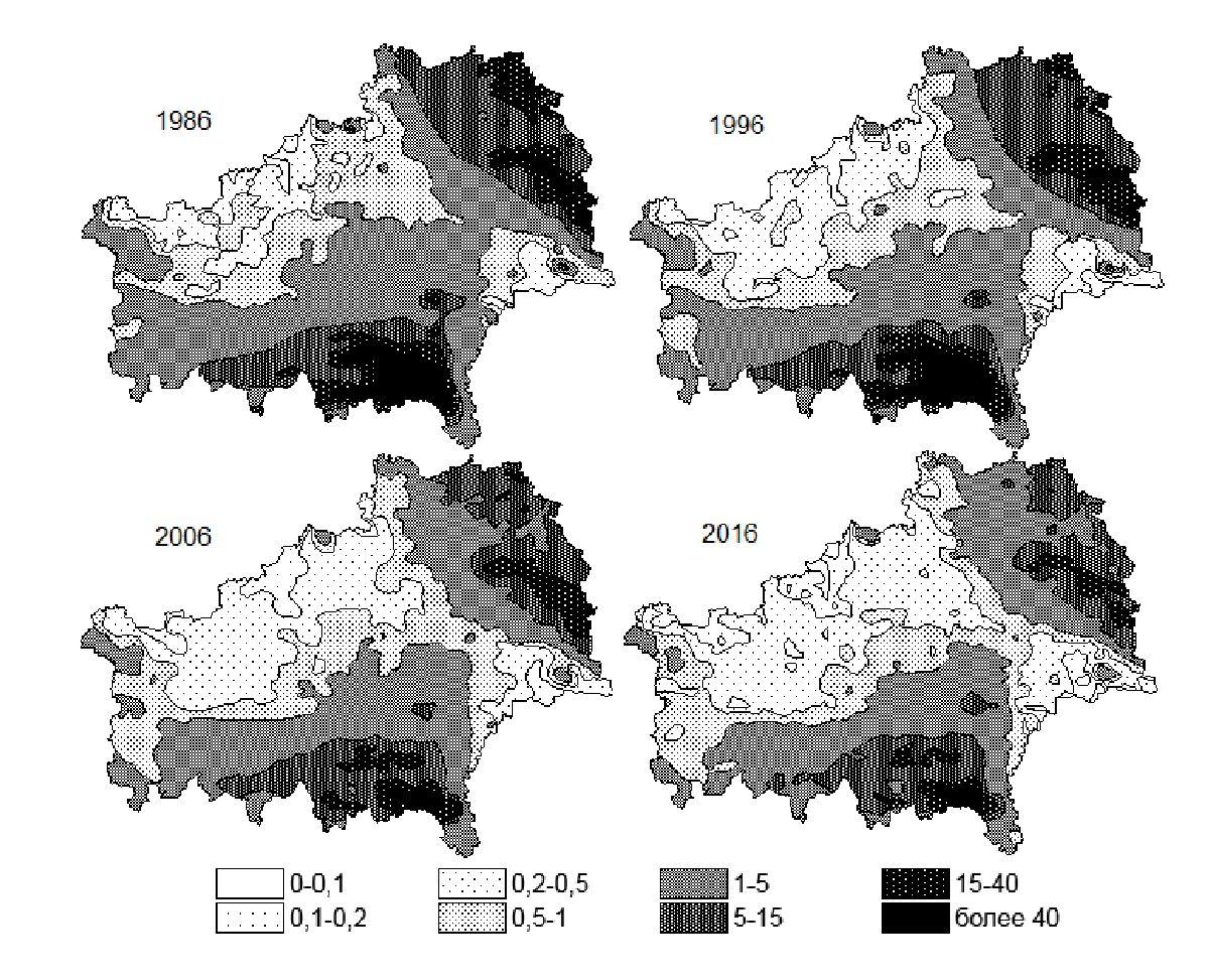 Рисунок 1 — Динамика радиоактивного загрязнения территории Гомельской области за 1986-2016 год, по цезию-137, Ки/км2